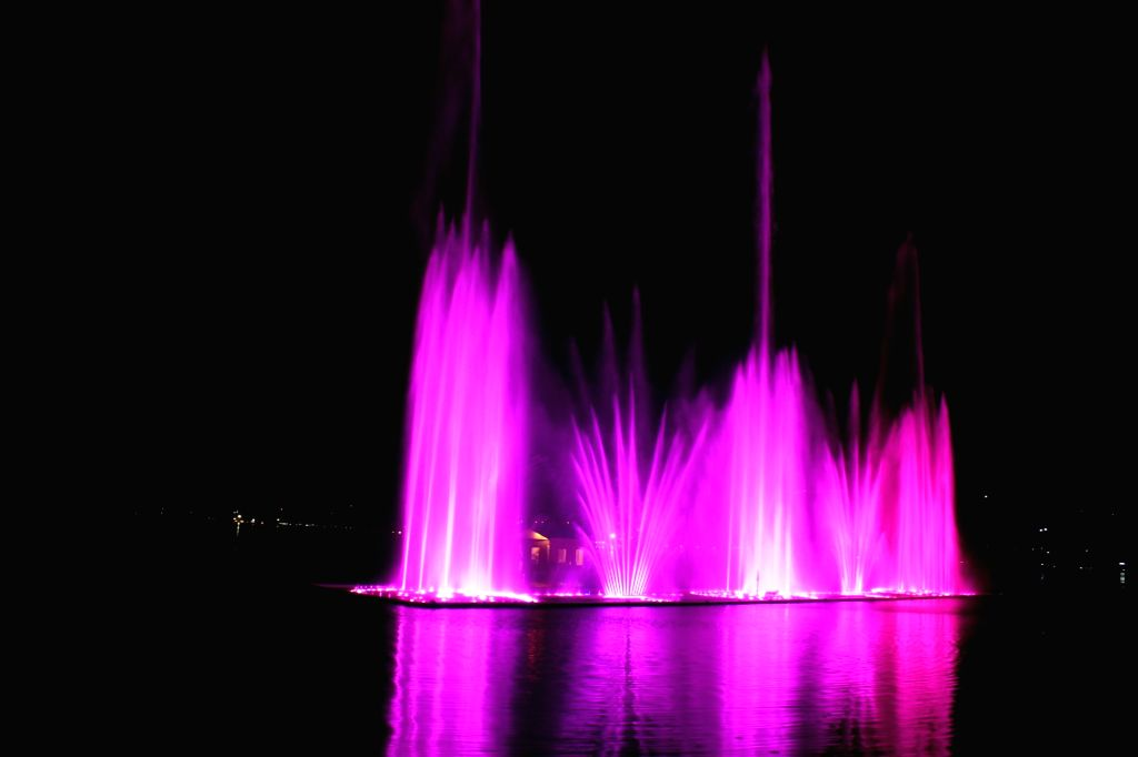 Musical fountain and laser show underway at Dal Lake in Srinagar, on April 13, 2019.