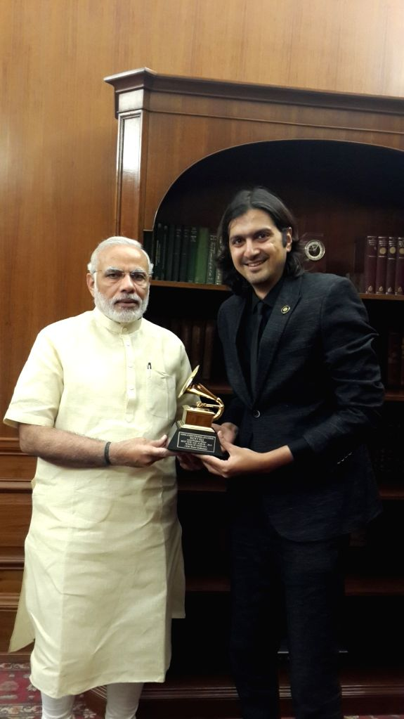 Musician Ricky Kej with Prime Minister Narendra Modi  in 2015 after his Grammy Award win. - Narendra Modi