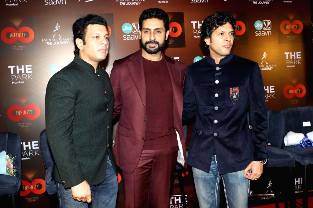 "Musicians Amaan Ali Bangash and Ayaan Ali Bangash with actor Abhishek Bachchan at the launch of their music album ""Infinity"" in Mumbai on Sep 6, 2019. - Abhishek Bachchan"