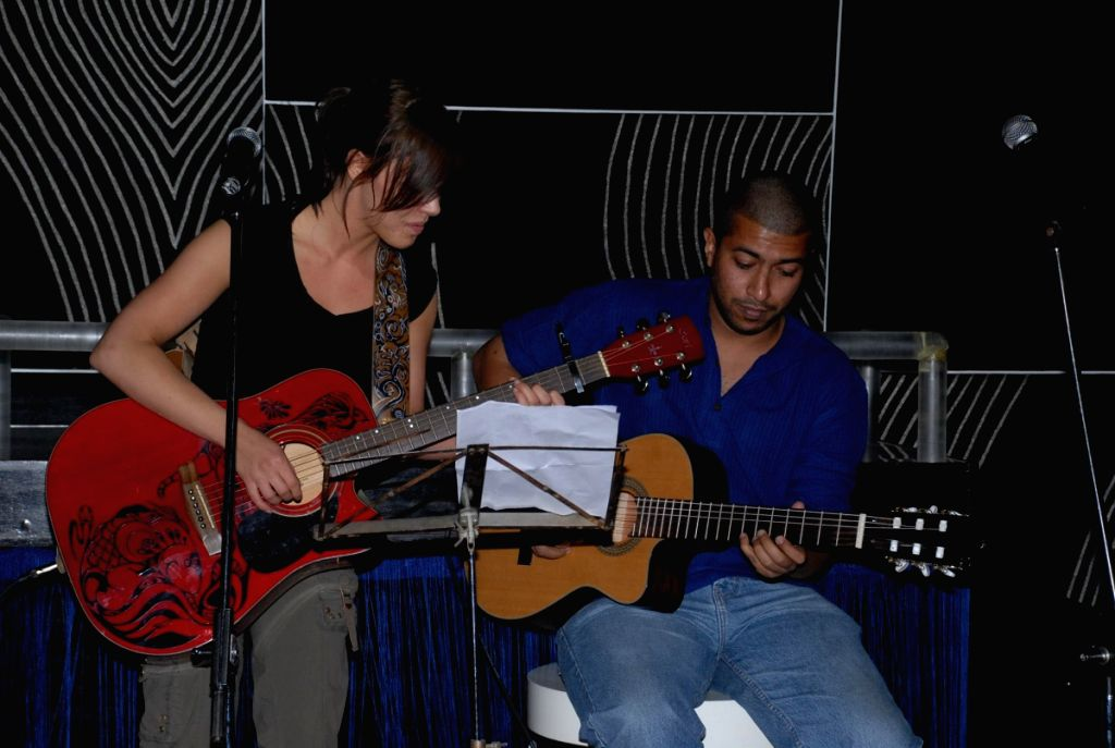 Musicians at music event.