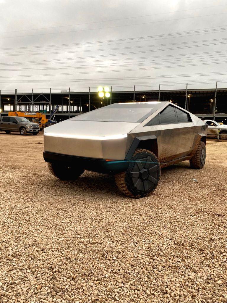 Musk drives Tesla Cybertruck at upcoming Gigafactory Texas.