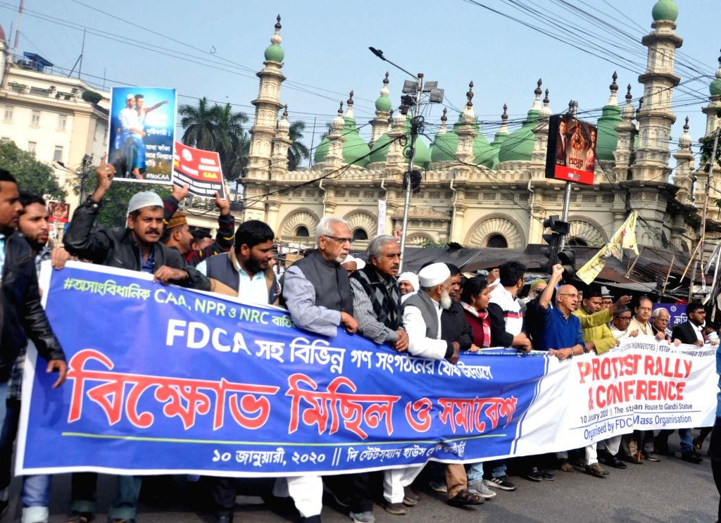 Muslim activists lead by former IAS officer Harsh Mandar and social activist Nadeem Khan participate in a protest march against CAA, NPR, NRC and JNU violence, in Kolkata on Jan 10, 2020. - Nadeem Khan