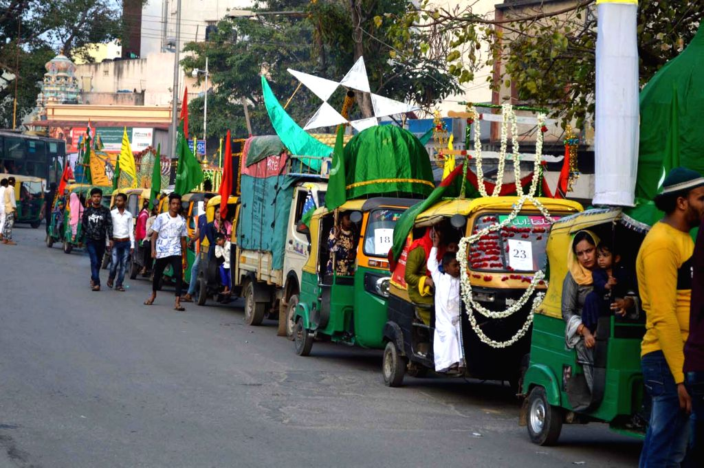 Muslim devotees participate in a religious procession on the occasion of Eid Milad-un-Nabi, the birth anniversary of Prophet Muhammad - the founder of Islam, in Bengaluru on Nov 10, 2019.