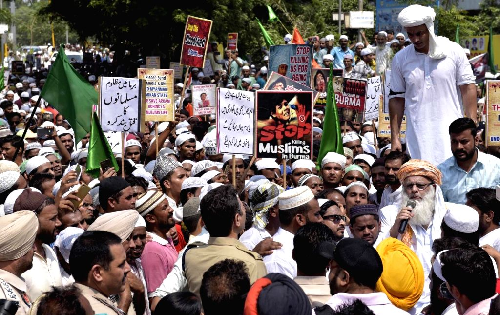 Muslim organisations stage a protest against Myanmar government over the condition of Rohingya Muslims in Ludhiana, Punjab on Sept 12, 2017.