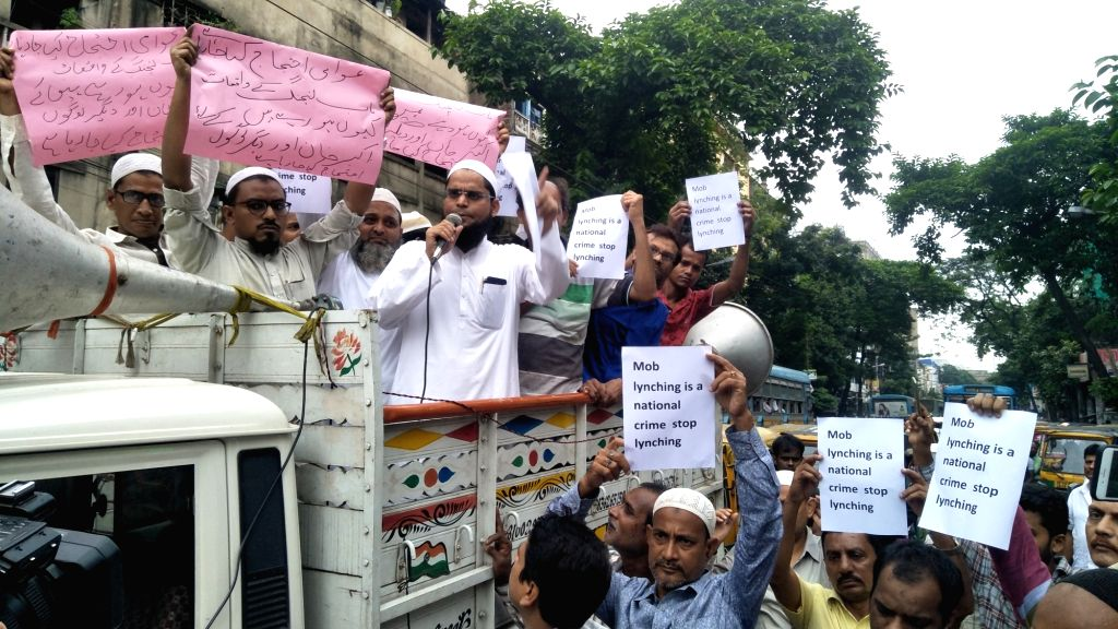 Muslim stage a demonstration against a spate in the incidents of mob lynching targeting Muslims; in Kolkata on July 25, 2018.