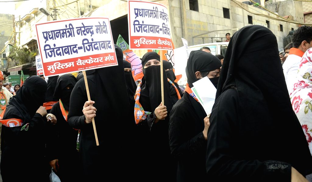 Muslim women campaign for BJP ahead of Delhi MCD Polls in New Delhi on April 20, 2017.