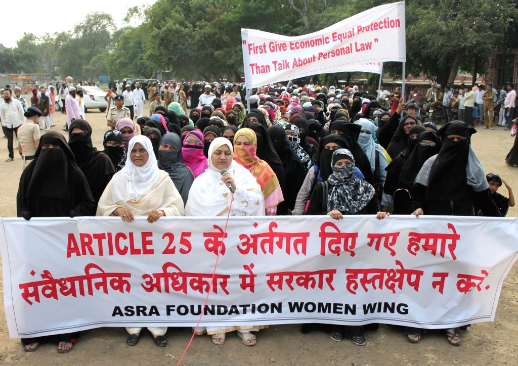 Muslim women stage a demonstration against uniform civil code in Nagpur on Oct 29, 2016.