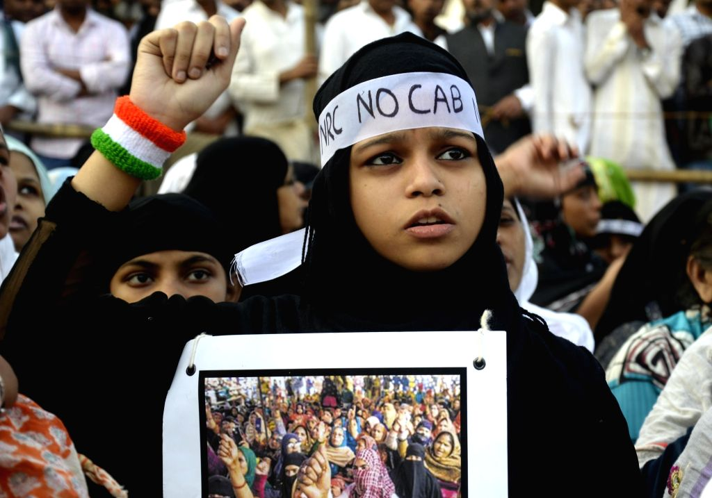 Muslim women stage a demonstration against the Citizenship Amendment Act (CAA) 2019, National Register of Citizens (NRC) and National Population Register (NPR), in Kolkata on Jan 24, 2020.