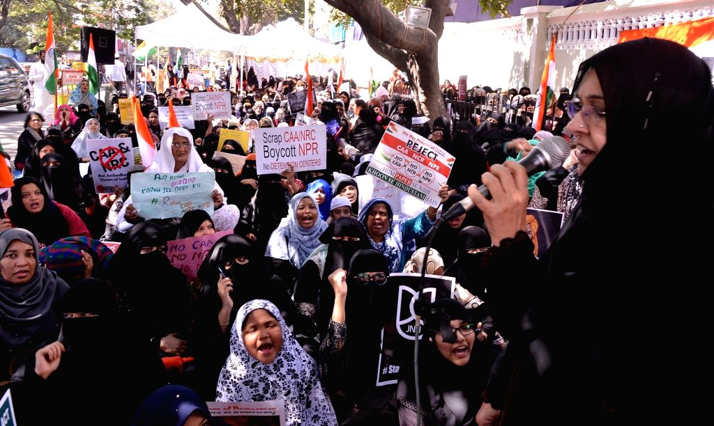 Muslim women stage a sit-in demonstration against the Citizenship Amendment Act (CAA) 2019, in Bengaluru on Jan 24, 2020.