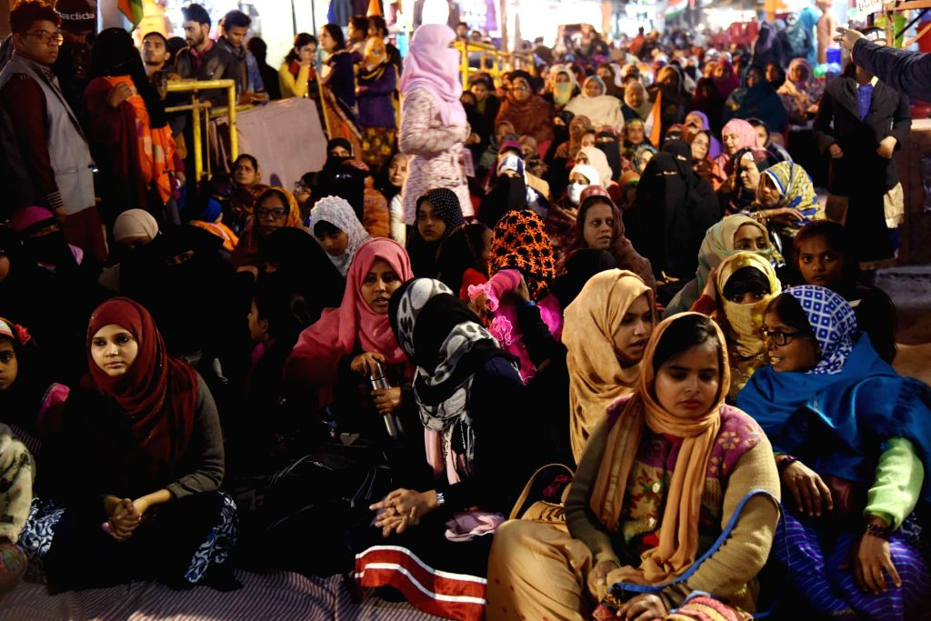 Muslim women stage a sit-in demonstration against the Citizenship Amendment Act (CAA) 2019 at Sabzibagh in Patna on Jan 25, 2020.
