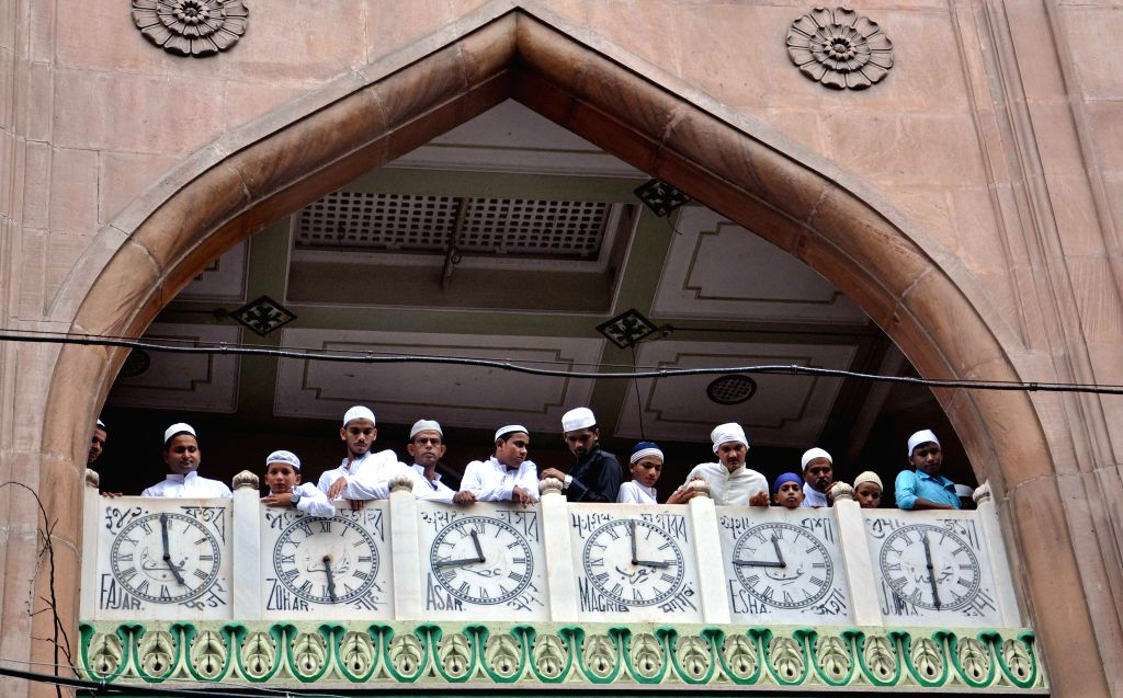 Muslims during the Eid-ul-Fitr prayers at the Nakhoda Mosque in Kolkata on July 29, 2014.