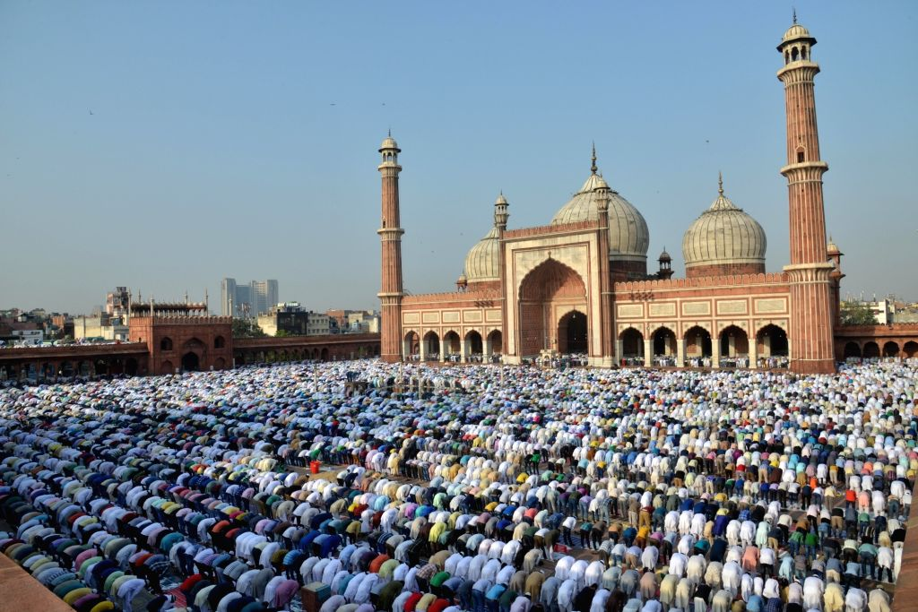 Muslims offer namaz on Eid al-Adha at the historic Jama Masjid in New Delhi on Sept. 13, 2016.