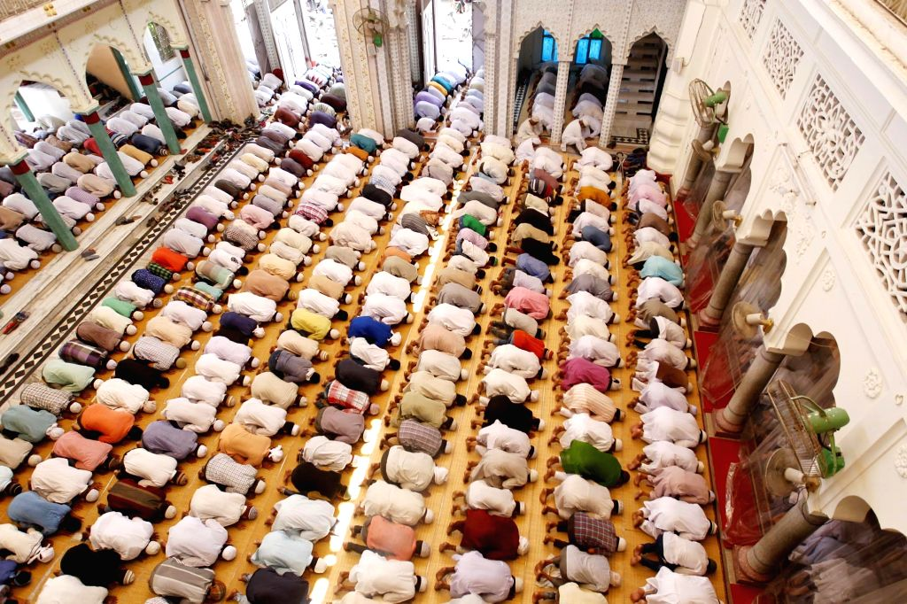 Muslims offer namaz on the first Friday of Ramadan in Allahabad on June 2, 2017.