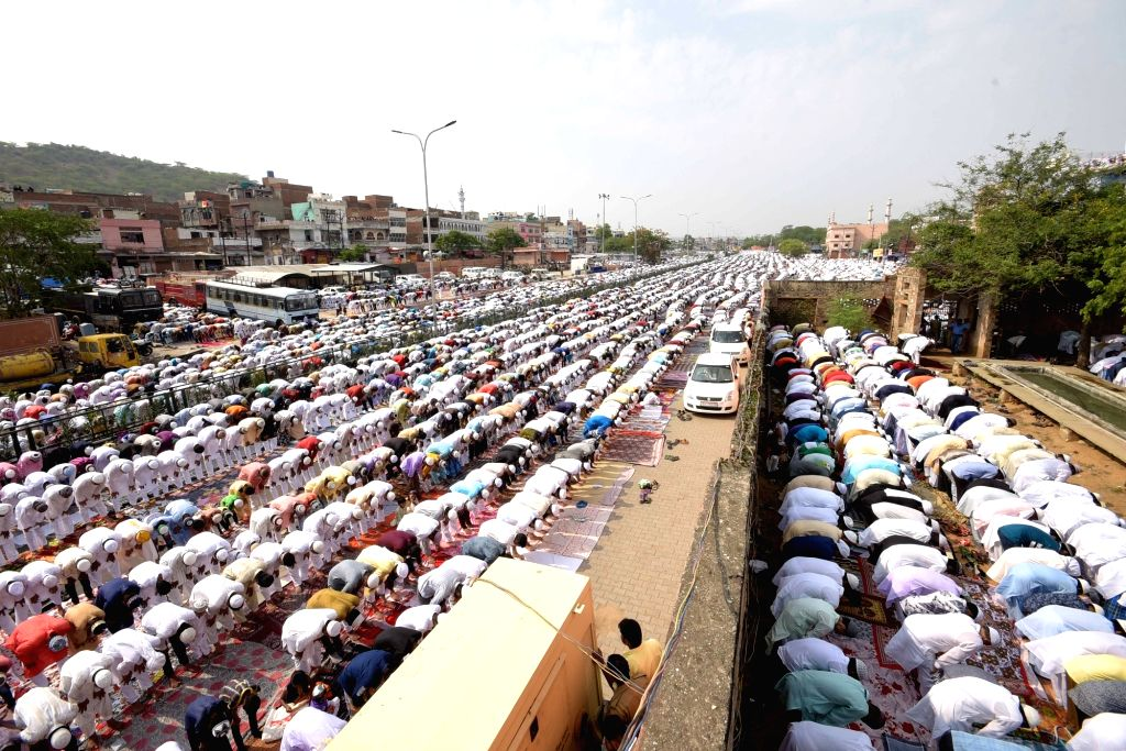 Muslims offer prayers on the occasion of Eid-ul-Fitr in Jaipur on June 26, 2017.