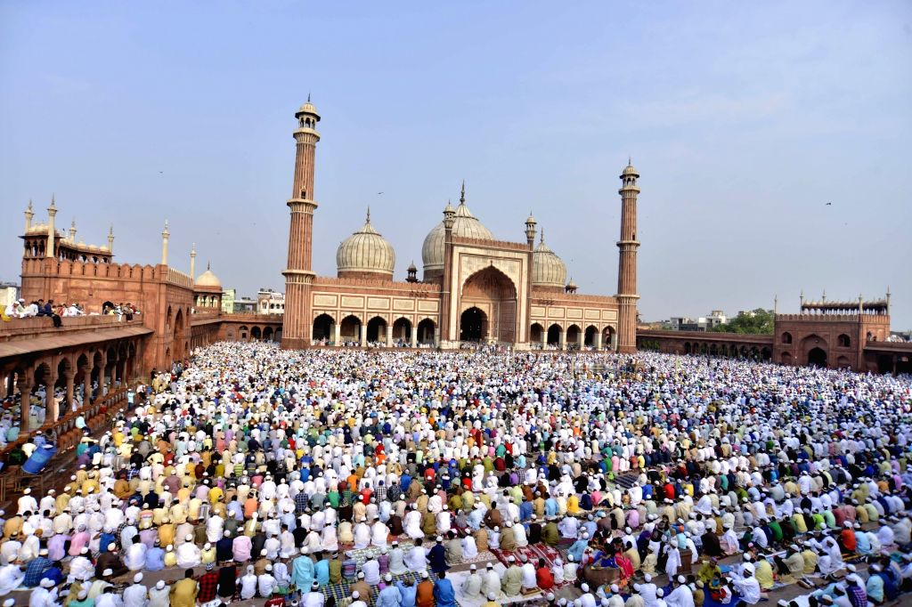 Muslims offer prayers on the occasion of Eid-ul-Fitr at Jama Masjid in New Delhi on June 26, 2017.
