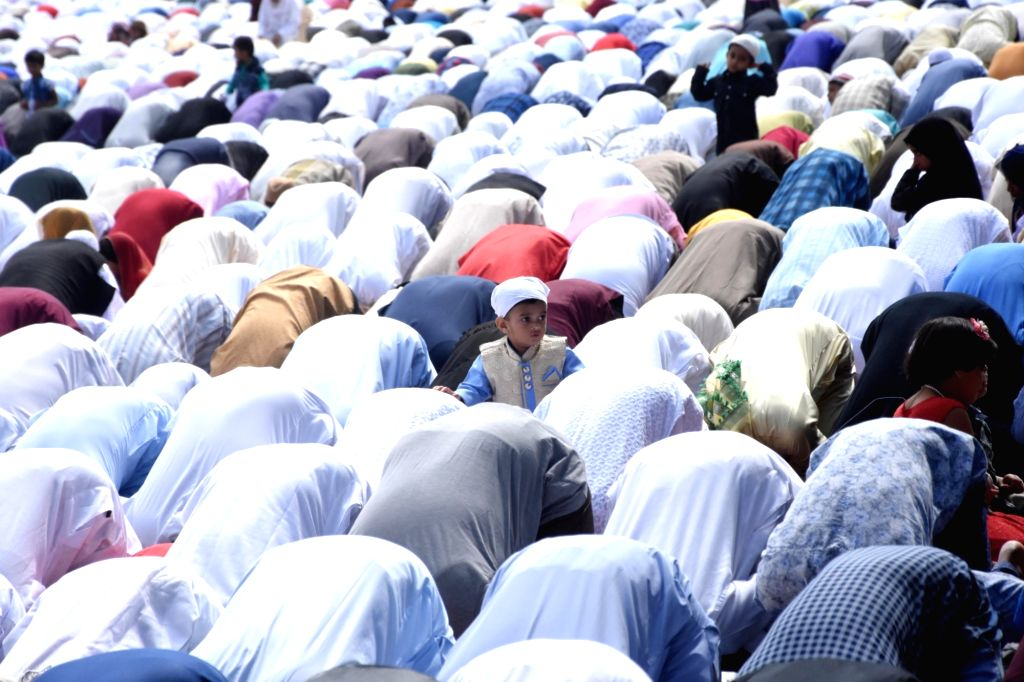 Muslims offer prayers. (Photo: IANS)