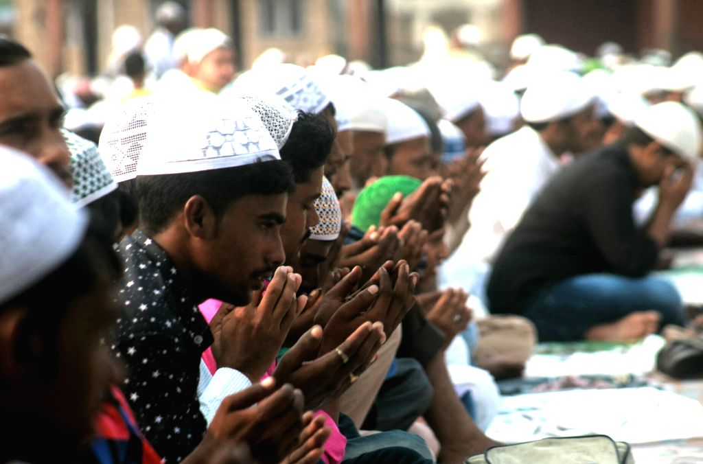 Muslims offering prayer on the occasion of Eid ul Fitr, at Jama Masjid in New Delhi on June 26, 2017.