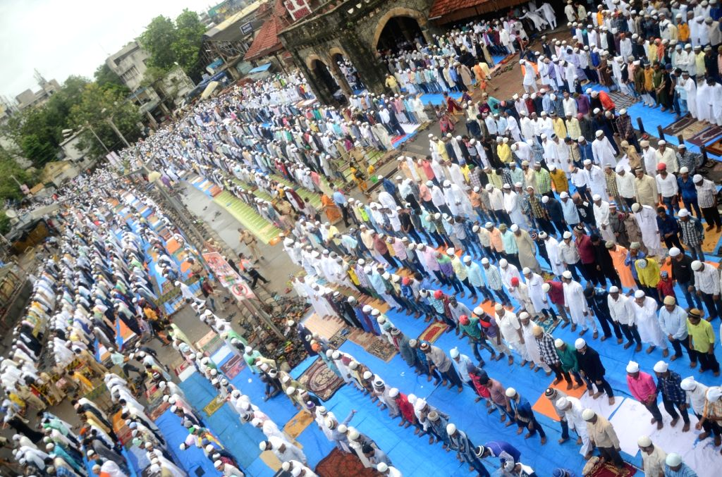 Muslims offering prayer on the occasion of Eid ul Fitr, in Mumbai on June 26, 2017.