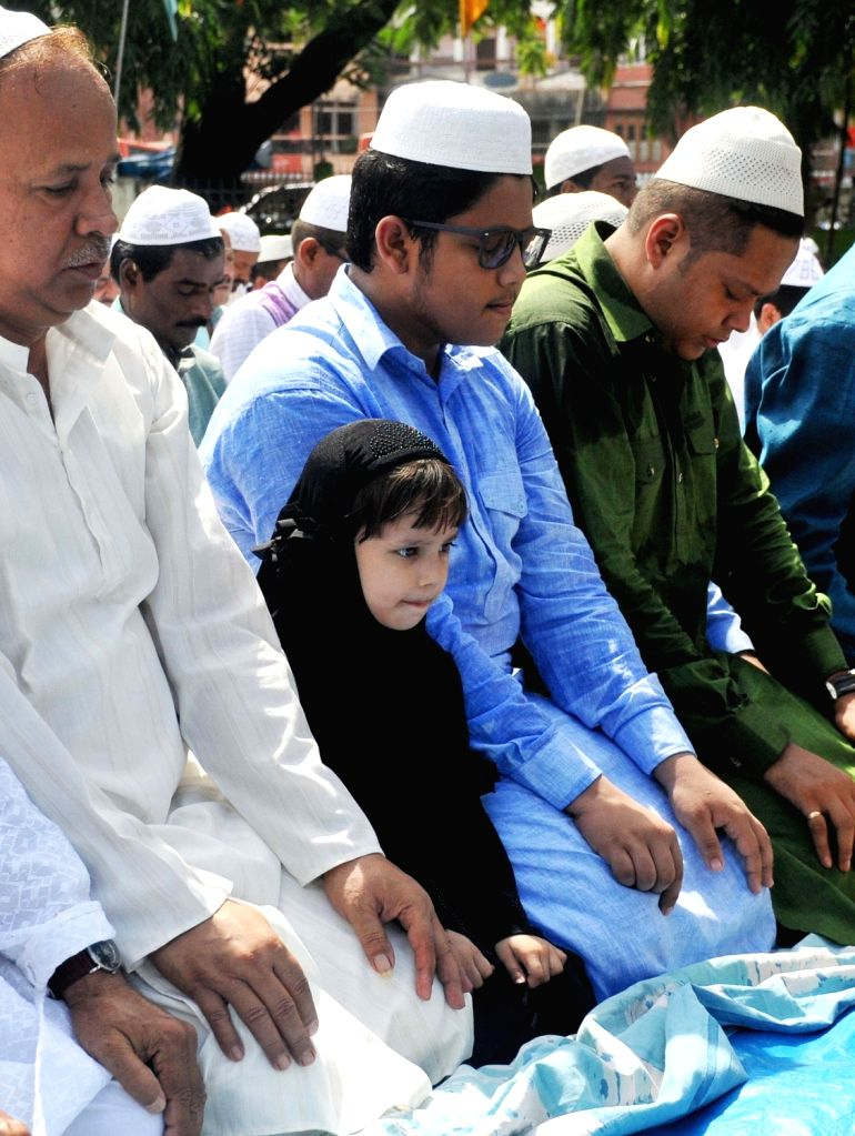 Muslims offering prayers on the occasion of Eid ul Fitr in Guwahati on June 26, 2017.