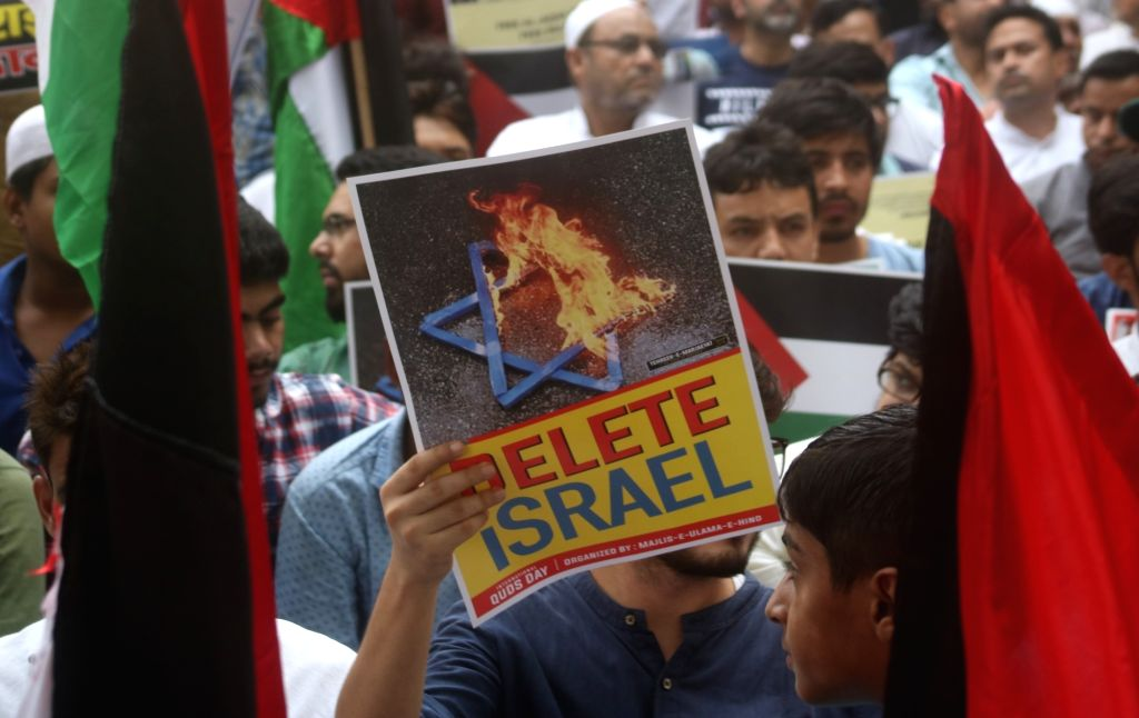 Muslims stage a demonstration against Israel; in New Delhi, on June 8, 2018.