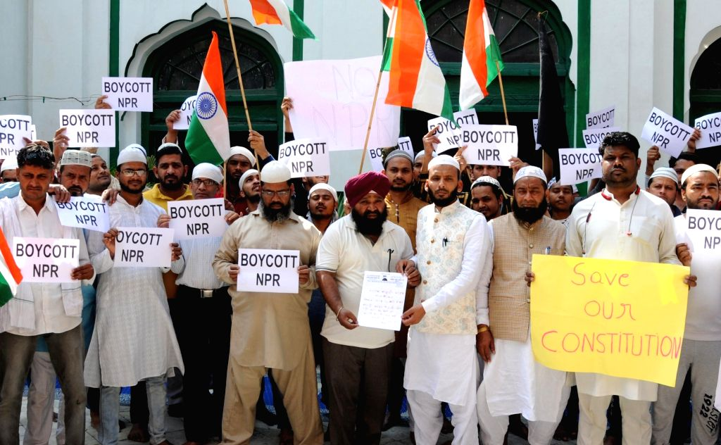 Muslims stage a demonstration against National Population Register (NPR), in Amritsar on March 20, 2020.