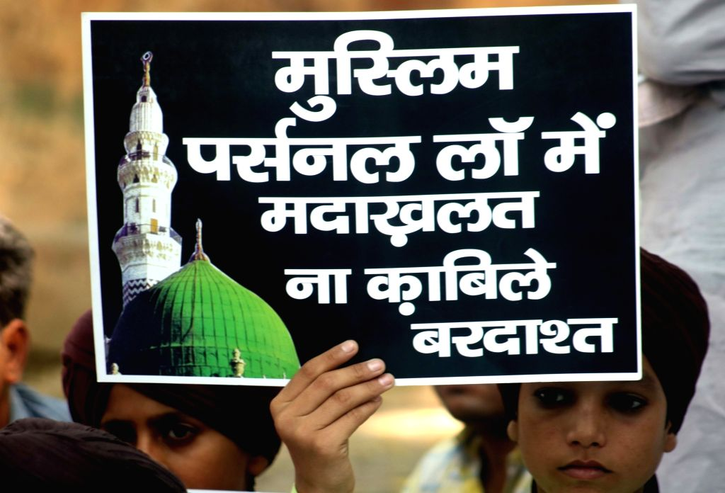 Muslims stage a demonstration against Uniform Civil Code in New Delhi, on Oct 17, 2016.
