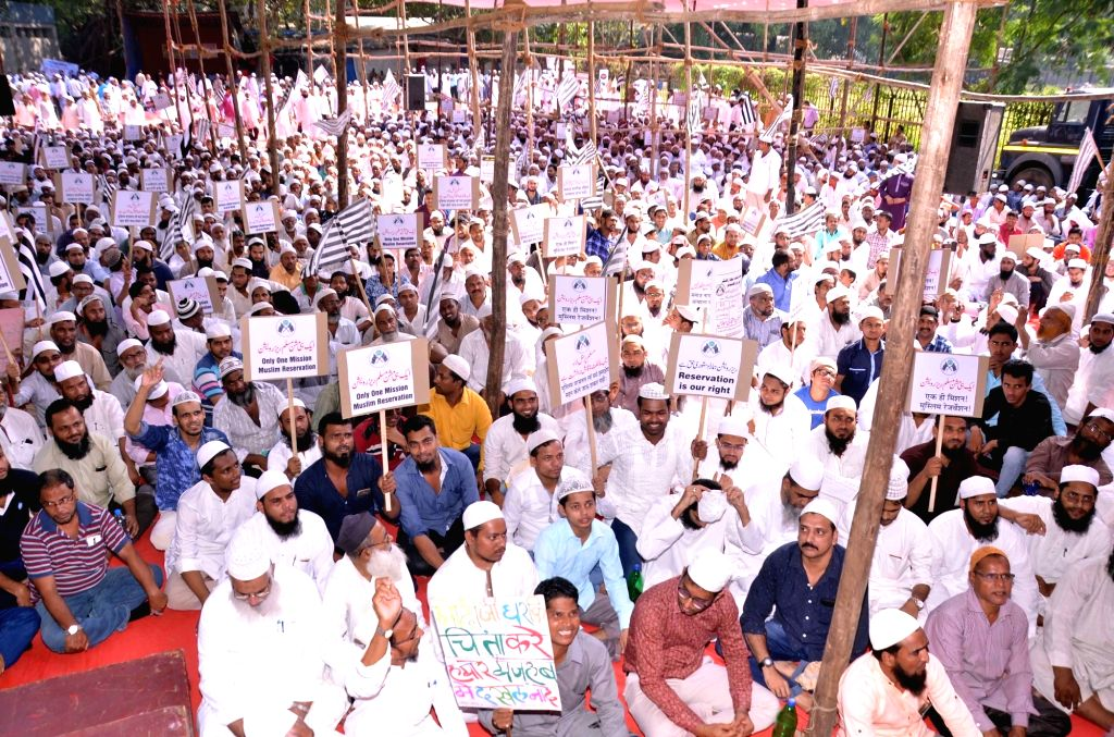 Muslims stage a demonstration against Uniform Civil Code in Mumbai, on Oct 20, 2016.