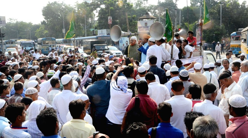 Muslims stage a demonstration against Uniform Civil Code in Kolkata, on Oct 20, 2016.