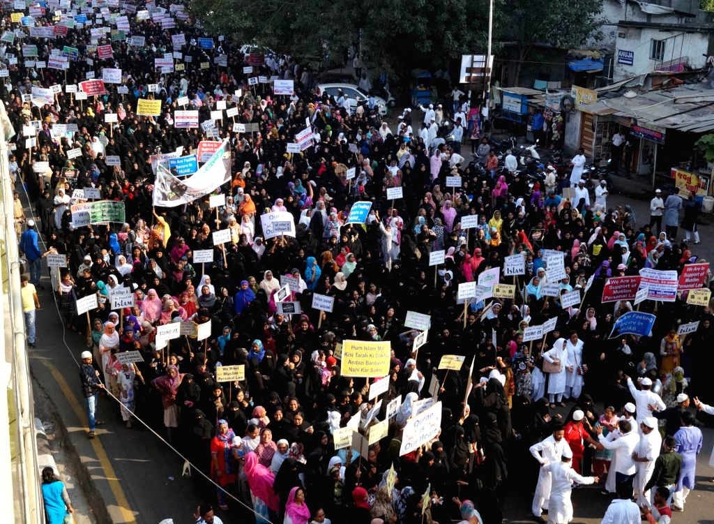 Muslims stage a demonstration against Uniform Civil Code in Ahmedabad, on Oct 20, 2016.