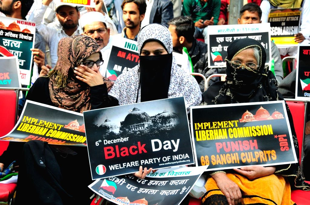 Muslims stage a demonstration on the 25th anniversary of the demolition of the disputed Babri Masjid in New Delhi on Dec 6, 2017.