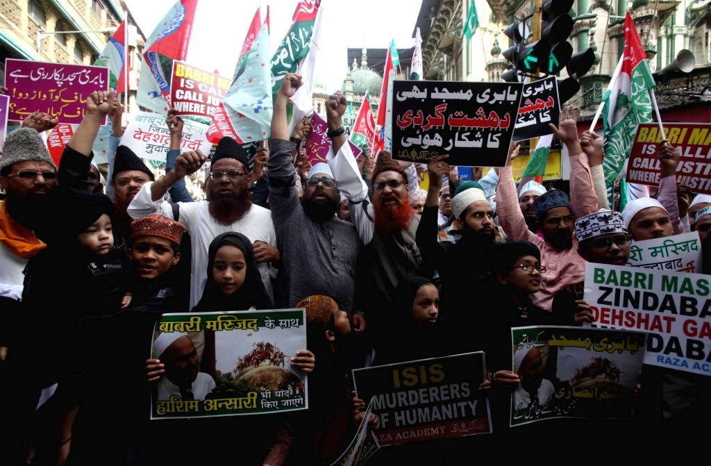 Muslims stage a demonstration on the 25th anniversary of the demolition of the disputed Babri Masjid in Mumbai on Dec 6, 2017.