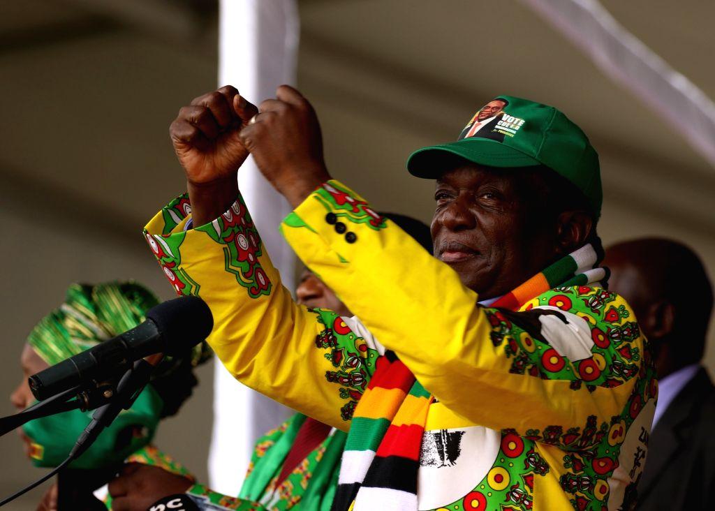 MUTARE (ZIMBABWE), May 19, 2018 Zimbabwean President Emmerson Mnangagwa addresses a rally of ruling party ZANU-PF in Mutare, Zimbabwe, May 19, 2018. Emmerson Mnangagwa said Saturday that ...