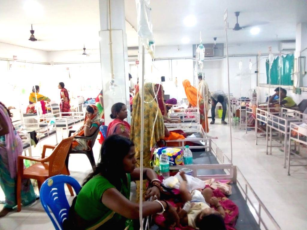 Muzaffarpur: Children with encephalitis symptoms being treated at hospital in Muzaffarpur, Bihar on June 12, 2019. (Photo: IANS)