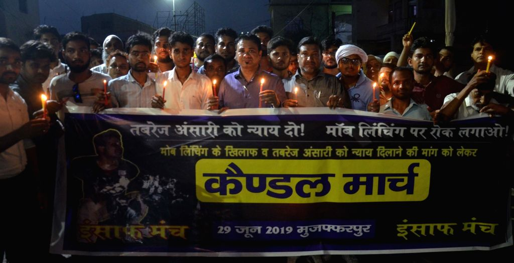 Muzaffarpur: People participate in a candle light vigil to protest against the lynching of Tabrez Ansari in Jharkhand; in Muzaffarpur, Bihar on June 28, 2019. (Photo: IANS)
