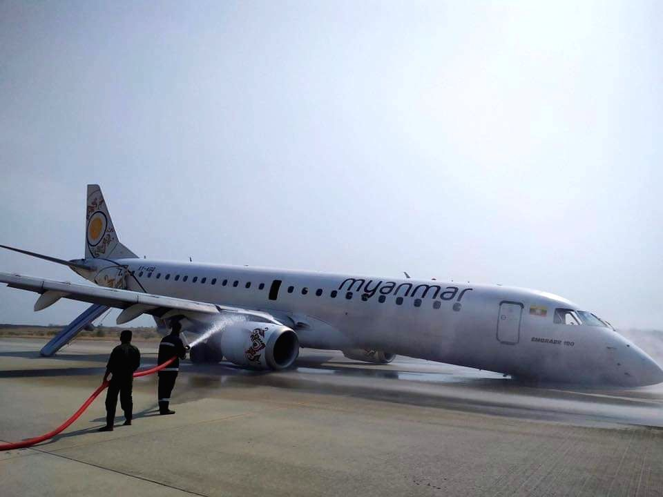 Myanmar Airline's Embraer E190 aircraft (ERJ-190LR) from Yangon to Mandalay which made an emergency landing after its front landing gear failed to deploy at Mandalay International Airport, ...