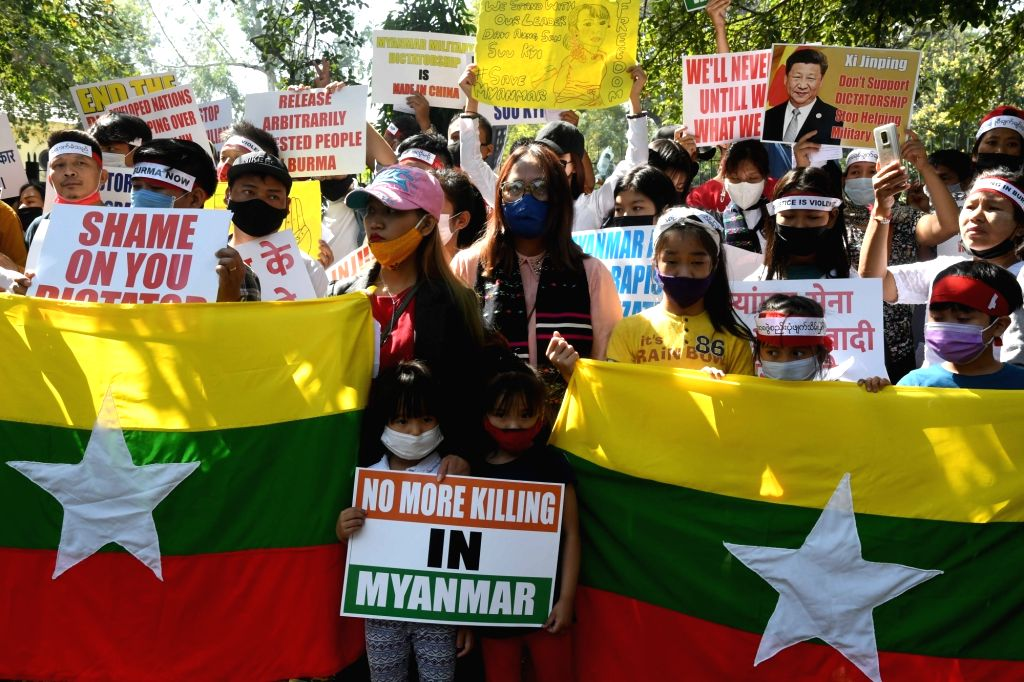 Myanmar refugees staged a protest against China's support to the new military rule in Myanmar at Jantar Mantar in New Delhi on Wednesday 03rd March, 2021.