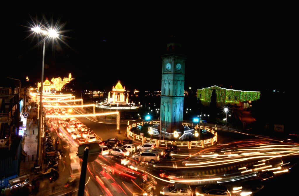 Mysuru illuminated ahead of Dasara celebrations, on Oct 18, 2020.