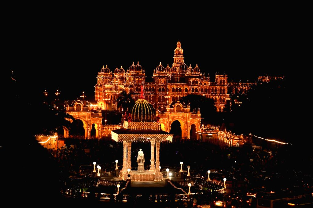 Mysuru palace and city streets decorated with the lights as a part of Dasara Festival celebrations, in Mysuru on Sep 30, 2019.