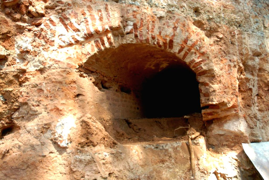 The secret tunnel that was discovered while carrying out drainage works in Nanjangud Road near Vishwamanava Park, in Mysuru on Jan 21, 2015. The tunnel allegedly connects to the Mysore ...