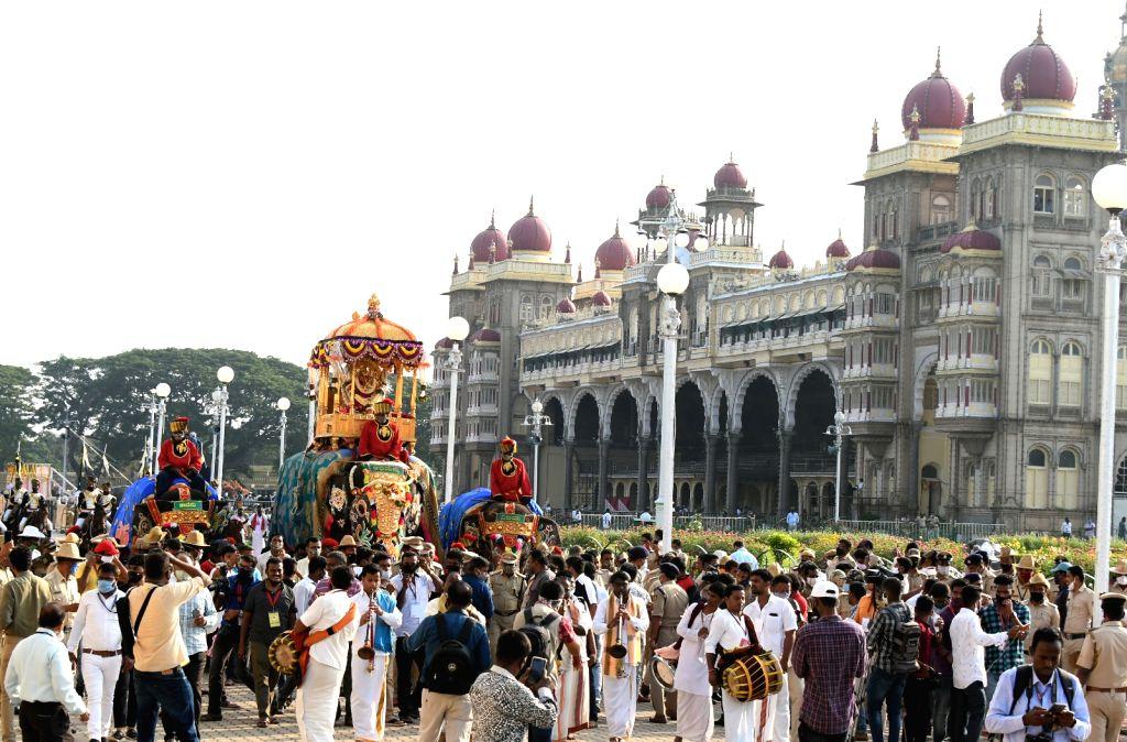 Mysuru: Vijayadashami celebrations underway at Mysuru Palace on Oct 26, 2020. (Photo: IANS)