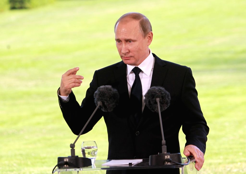NAANTALI, July 2, 2016 - Visiting Russian President Vladimir Putin speaks at a joint press conference after holding talks with his Finnish counterpart Sauli Niinisto in Naantali, Finland, on July 1, ...