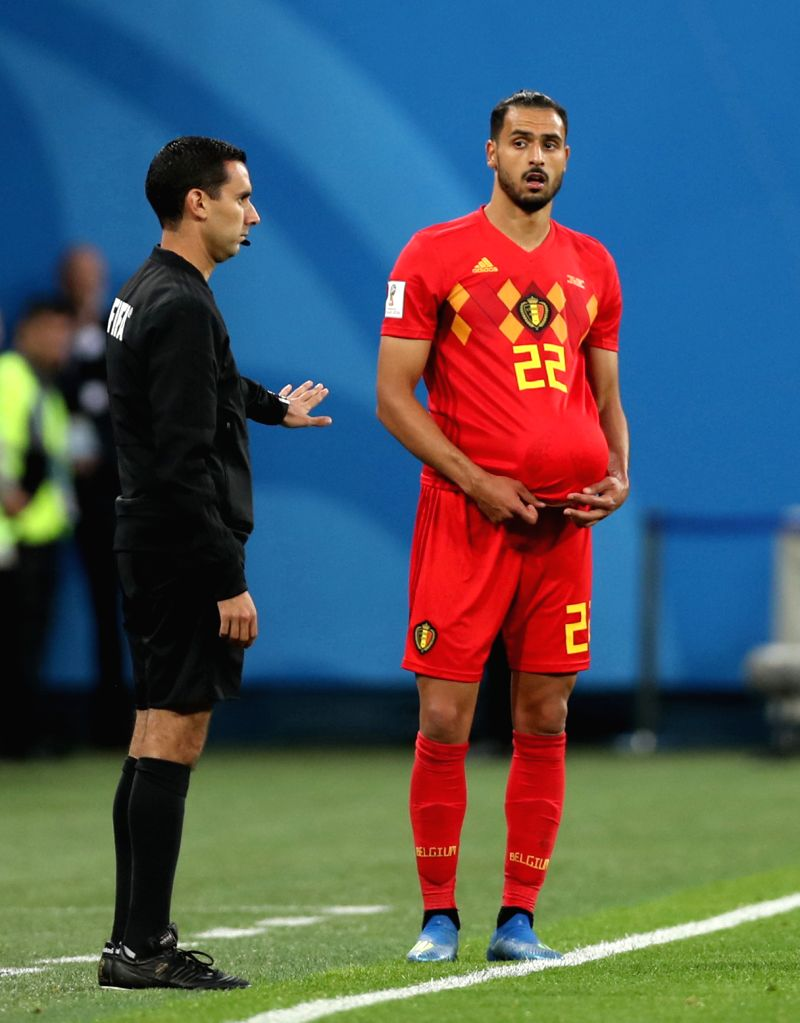 Nacer Chadli (R) of Belgium is seen during the 2018 FIFA World Cup semi-final match between France and Belgium in Saint Petersburg, Russia, July 10, 2018. ...