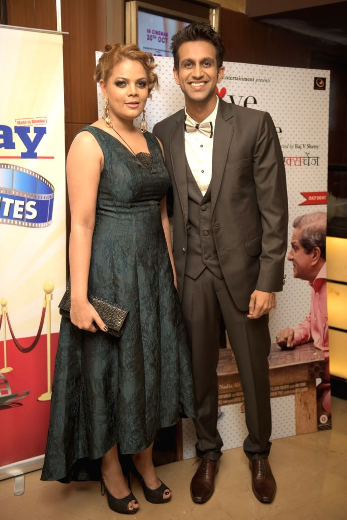 Nadia Ali Shirazi (Producer) with Mohit Madan during the premiere of film Love Exchange in Mumbai on Oct 28, 2015.