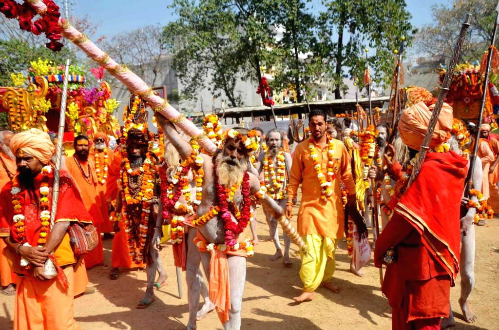 Naga sadhus during the ongoing Kumbh mela in Haridwar on March 5, 2021.  .