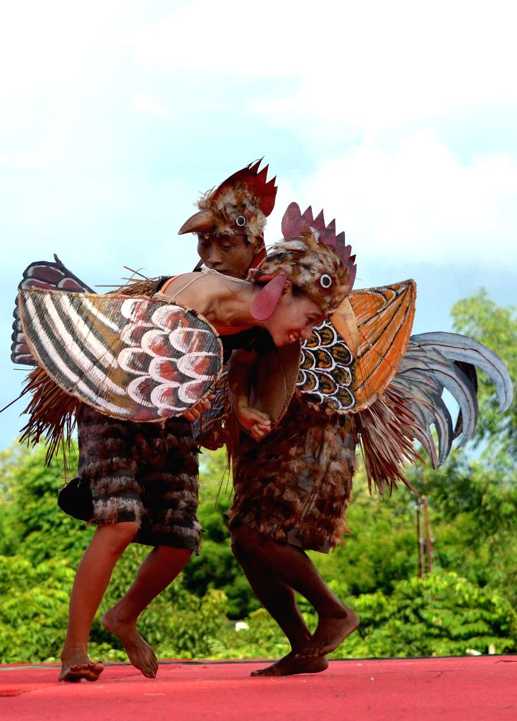 Naga tribesman perform `chicken dance` during the Tsungremmong Festival at Diphupar in Dimapur, Nagaland on August 1, 2014.