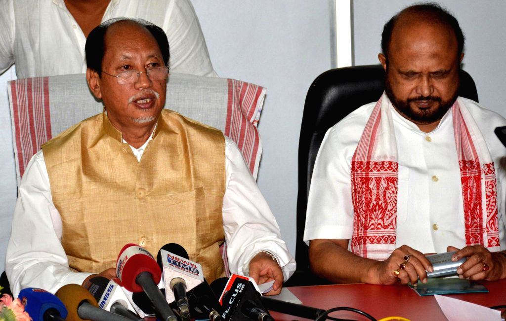 Nagaland Chief Minister and convener of North East Regional Parties Front (NERPF) Neiphiu Rio and Asom Gana Parishad (AGP) chief Prafulla Kumar Mahanta during a press conference at newly inaugurated . - Prafulla Kumar Mahanta