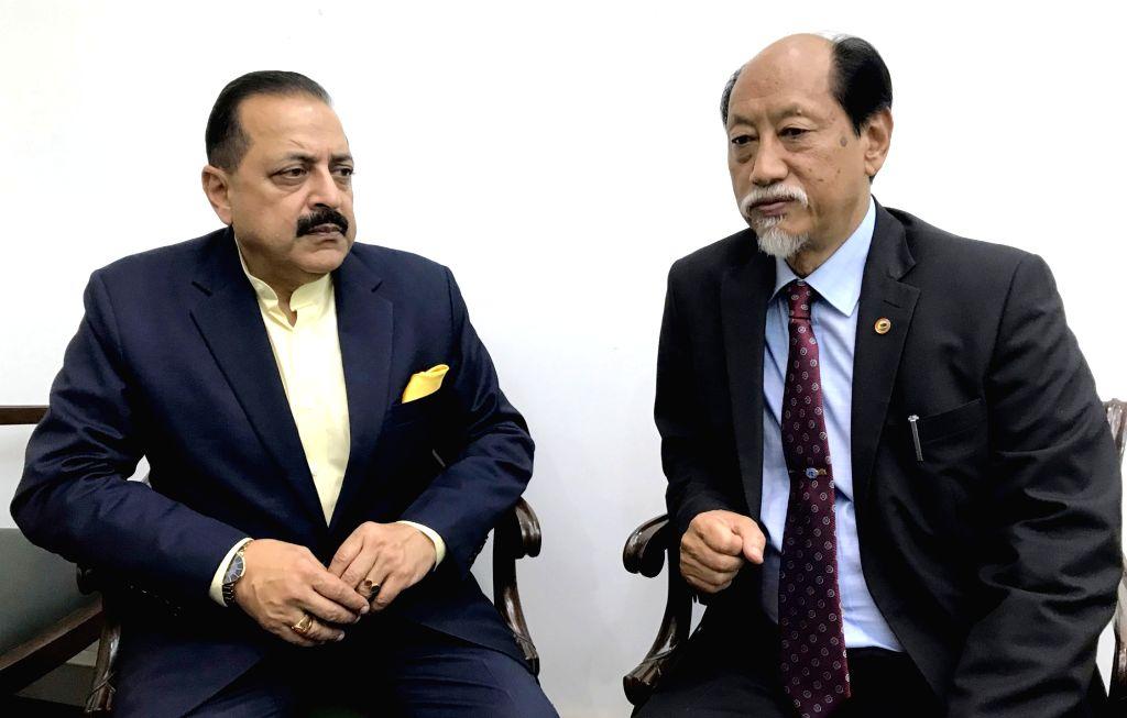 Nagaland Chief Minister Nephiu Rio calls on Union MoS Development of North Eastern Region Jitendra Singh, in New Delhi, on Dec 13, 2018. - Nephiu Rio