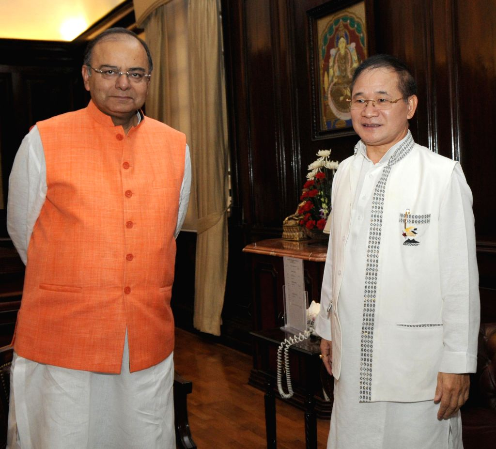 Nagaland Chief Minister T. R. Zeliang during a meeting with Union Minister for Finance, Corporate Affairs and Defence Arun Jaitley in New Delhi on July 1, 2014. - T. R. Zeliang