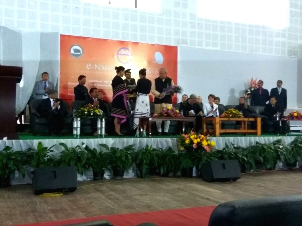 Nagaland Governor being felicitated at the occasion on 2nd e-Naga Summit in Kohima