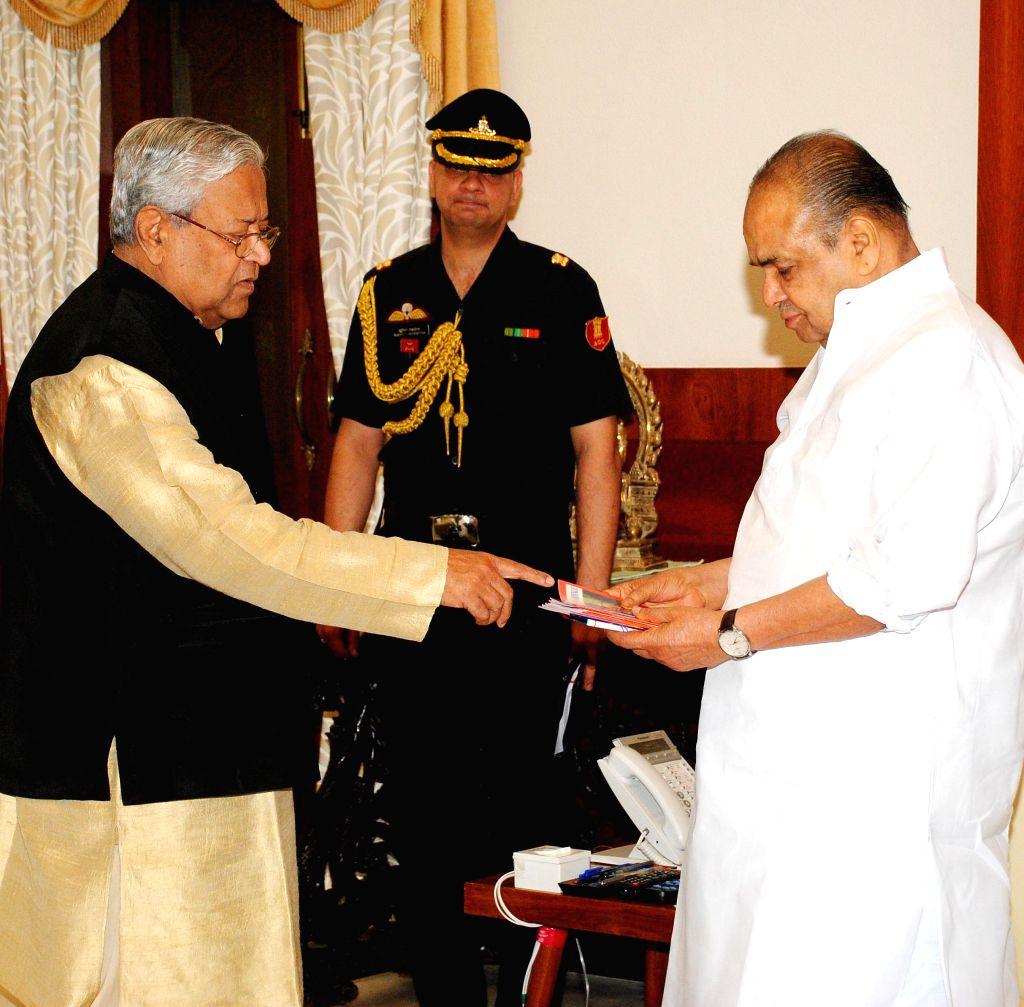 Nagaland Governor Padmanabha Acharya meets Mumbai Governor K. Sankaranarayanan at Raj Bhavan in Mumbai on August 02, 2014.